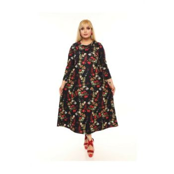 Plus Size Flower Patterned Dress Pe275 PE275