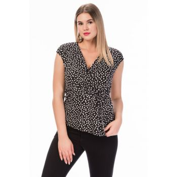 Women's Black & White Polka Dot Front Lacing Detailed Blouse OBDPJB