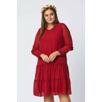 Women's Red Chiffon Dress 111211600003