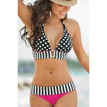 Women's Black & White Polka Dot Special Design Bikini Set 1283663