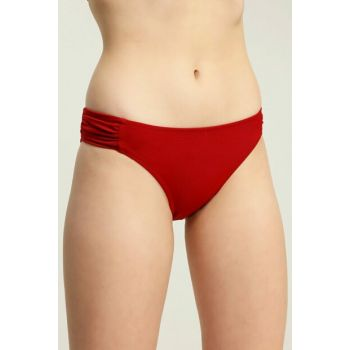 Women's Burgundy Side Pleated Bikini Bottom SB19560