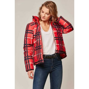 Women's Red Printed Inflatable Coats 10405 Y19W126-10405