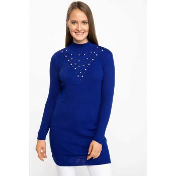 Women's Blue Knitwear Tunic J5156AZ.18AU.BE58