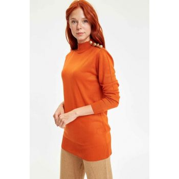 Women's Orange Buttoned Sweater Tunic L1812AZ.19WN.OG421