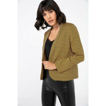 Women Black Yellow Zigzag Pattern Blazer Jacket S-20K3680001