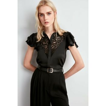 Black Satin Shirt TWOSS20GO0022