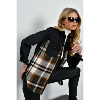 Women's Black-Ecru Corduroy Plaid Shirt PR01