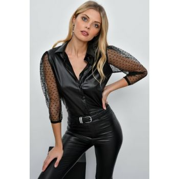 Women's Black Sleeve Tulle Faux Leather Shirt TD81