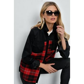 Women's Black / Burgundy Corduroy Plaid Shirt PR01