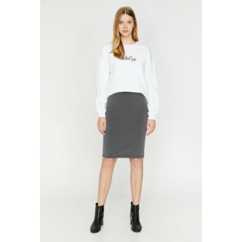 Women's Black Patterned Skirt 0KAK76589GK