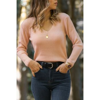 Women Powder Deep V Neck Sweater 9YXK3-41731-50