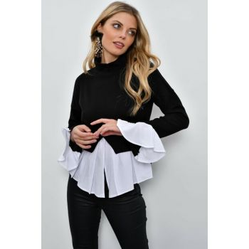 Women Black Double Eyelash Blouse SB210