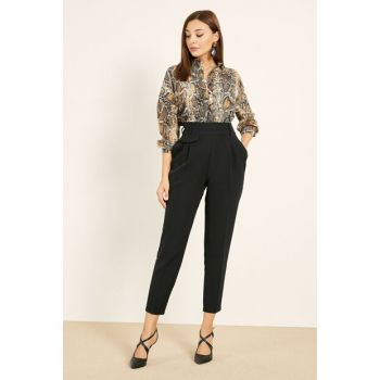 High Waist Cigarette Trousers - BLACK - 20KPA139K151