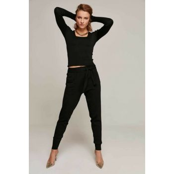 Women Black High Waist Pocket Detailed Belt Sweater Pants Y19W144-19202