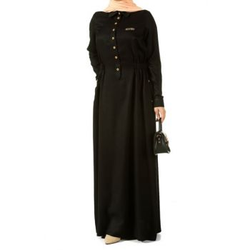 Women's Black Embroidered Waist Elastic Dress 2172