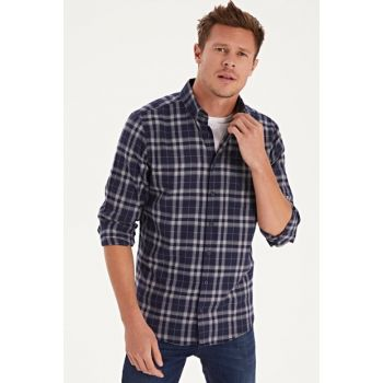 Men's Navy Blue Plaid Shirt 9W2732Z8