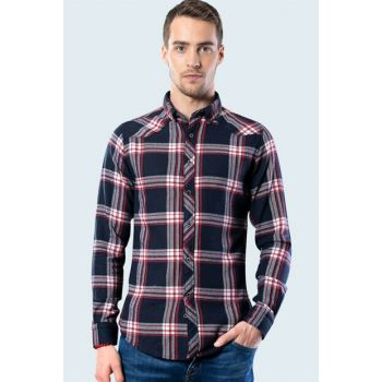 Slim Fit Plaid Blue Winter Shirt DR200001-330