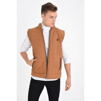 Men's Taba Zippered Quilted Artificial Suede Vest 4380