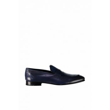 Genuine Leather Navy Blue Men Loafer 120130001952
