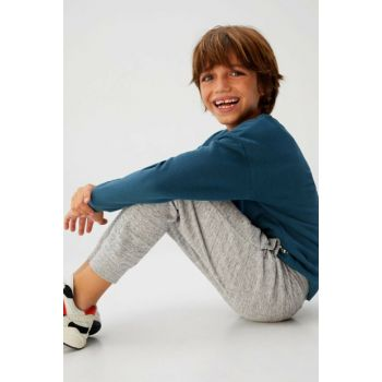 Medium Flecked Gray Boy Kids Jogger Style Cotton Trousers 53033773