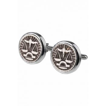 Men's Silver Color Libra Zodiac Sign Cufflink KD777 KRVT8690002221834