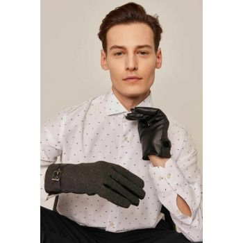 Men's Patterned Polar Belt Buckle Detailed Faux Leather Glove 8320-3 C19W-K8320-3