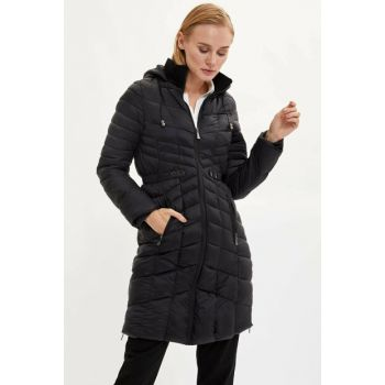 Women's Black Hooded Long Parka with Zipper K8863AZ.19WN.BK27