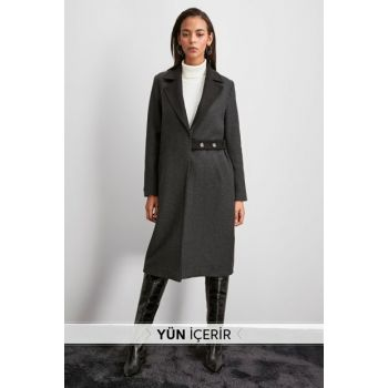 Anthracite Collar Detailed Belt Wool Stamp Coat TWOAW20KB0168