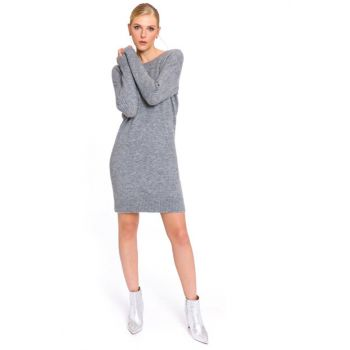 Women's Gray Melange Dress 7KB089Z8