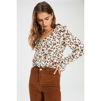 Women's Ecru Printed Shirt 9WT702Z8