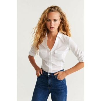 Women's White Breasted Cotton Shirt 67070526