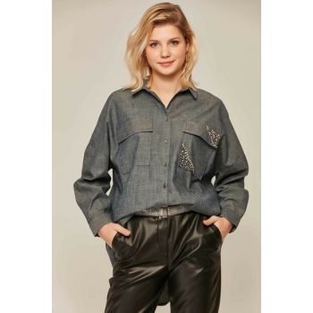 Women's Denim Pocket Detail Stone Embroidered Bat Sleeve Shirt 30617 Y19W109-30617