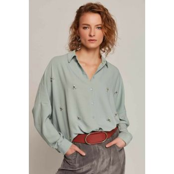Women's Cagla Green Stone Embroidered Bat Sleeve Shirt 30620 Y19W109-30620