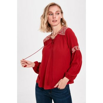 Women's Matte Red Blouse 0S9488Z8