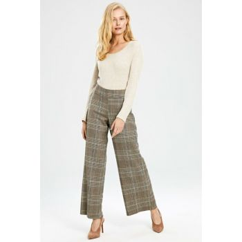 Women's Dark Beige Plaid Pants 9WG610Z8