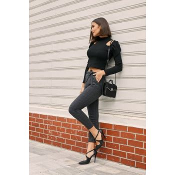 Wrist Length Waist Belted Trousers - Checked Smoke 20KPA356K111