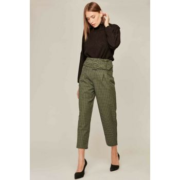 Women's Mustard Plaid Trousers 39523 Y19W109-39523