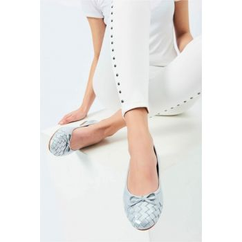 Genuine Leather Silver Women Flats 120130005662
