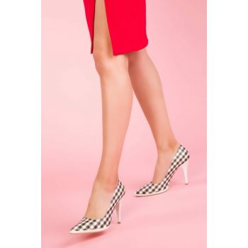 Black White Plaid Women High Heels Shoes 12475