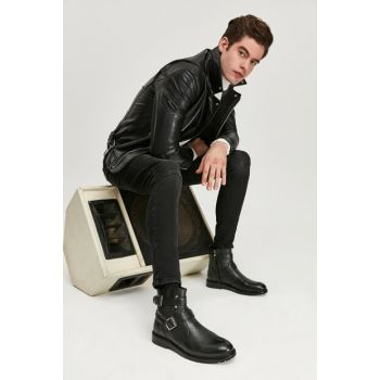 Genuine Leather Men Black Boots & Bootie 02BOY163560A100