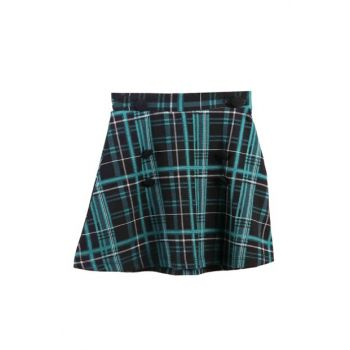 Girl's Skirt Plaid Green / Black 13014-76