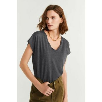 Women's Medium Flecked Gray V-Neck T-Shirt 53053731