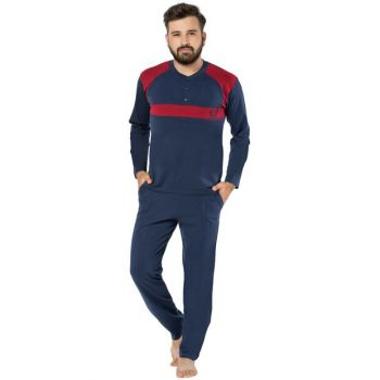 Men's Navy Blue Pajamas 4 Seasons Cotton Button Detailed Suit Piaff 0225 SU0225