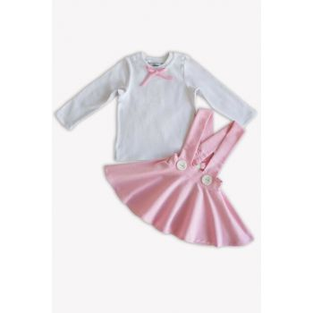 Pink Straped Skirt Long Sleeve Body Suit / 3-6 MONTH TKM-0021