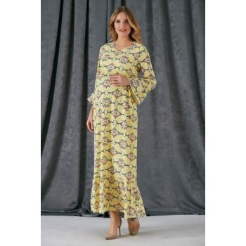 Maternity Skirt And Sleeve Frilly Flower Patterned Dress Yellow 8484