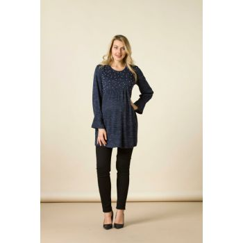 Maternity Pearl Detailed Tunic Navy 8558
