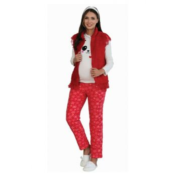 Women Burgundy 5107 Fleece Vest Maternity Lohusa Maternity Pajamas Set SM5107