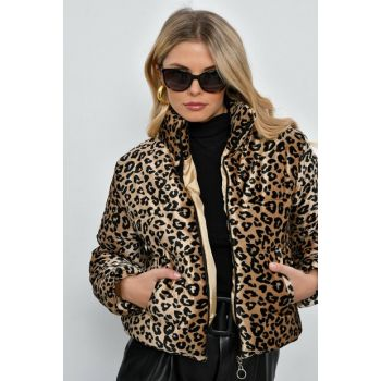 Women Camel-Black Leopard Velvet Inflatable Coats SGT247