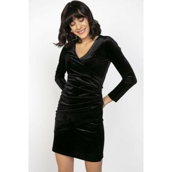 Women Double Breasted Collar So Shirred Velvet Dress BlackS-20K1920040