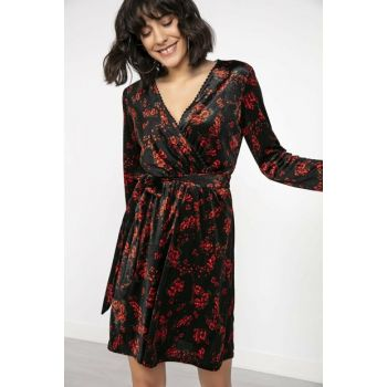Women Double Breasted Lapel Flower Pattern Belted Velvet Dress Black-Red S-20K0840027